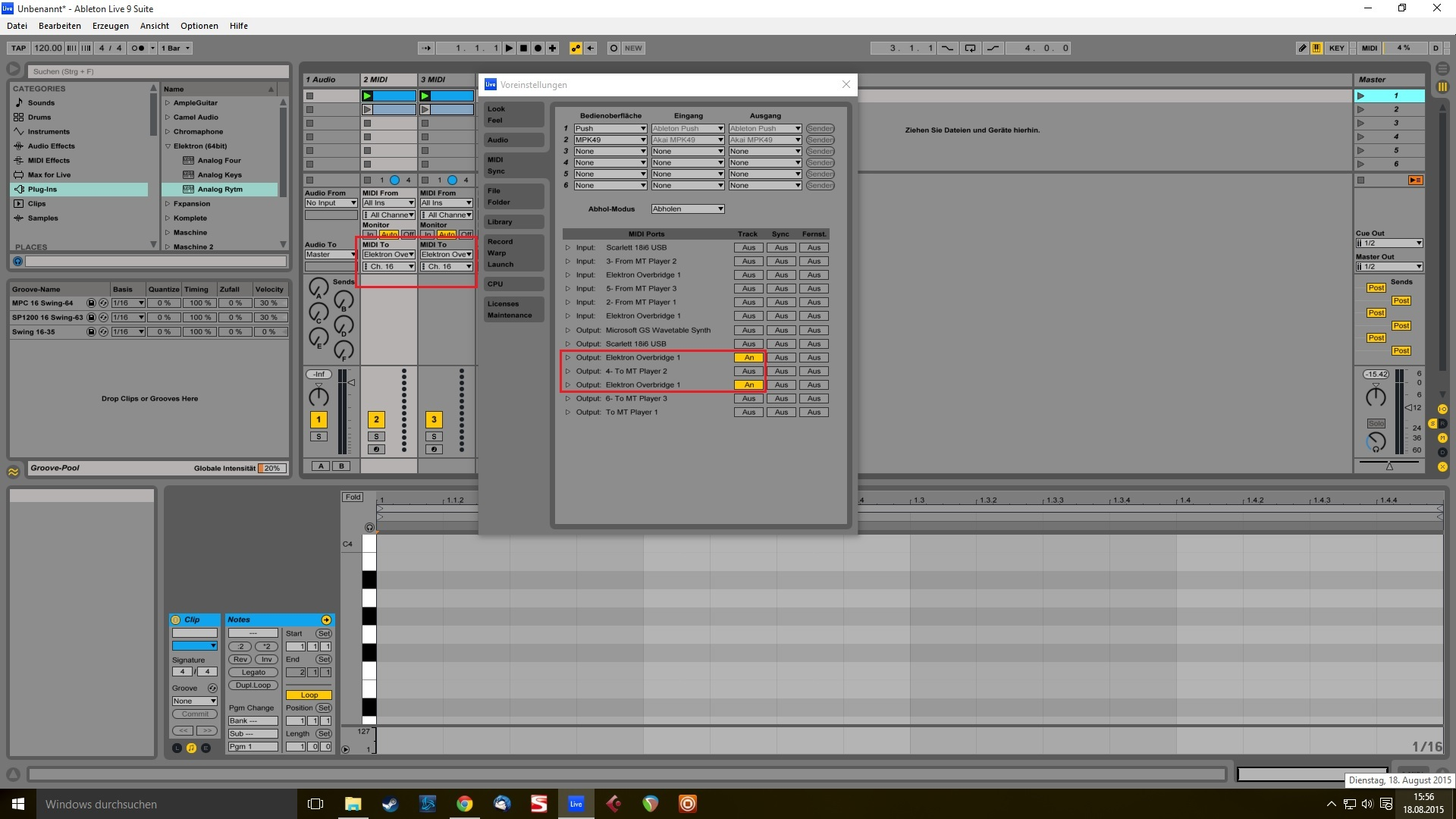 Sequencing from Ableton via Overbridge - Overbridge