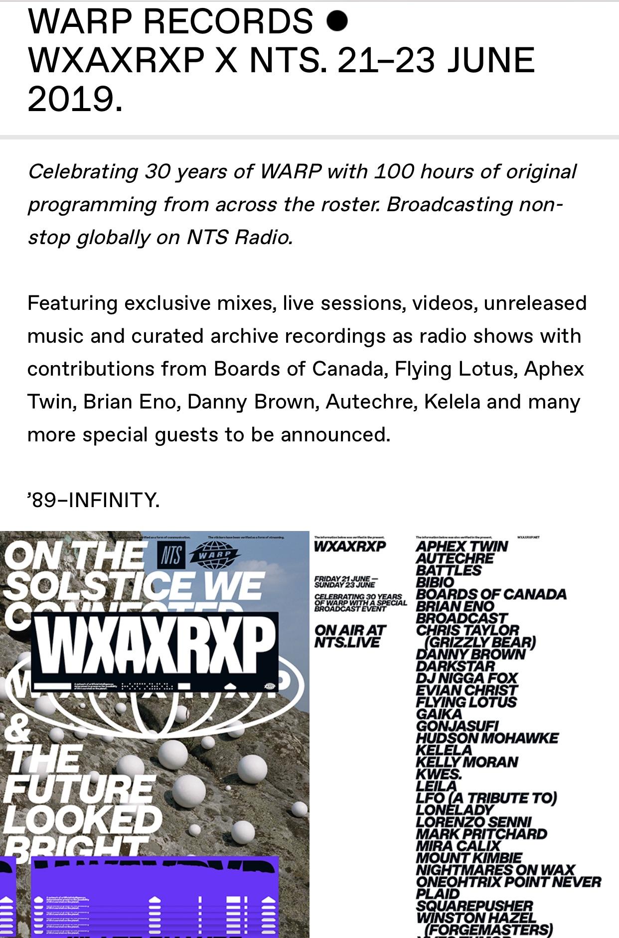 WXAXRXP 89 - Infinity [WARP Records event] - General