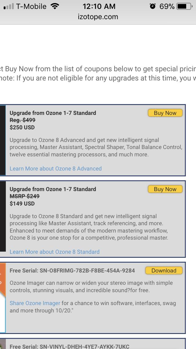 Ozone 8 free upgrade | Ozone 8 Standard Upgrade from Ozone 1  2019-05-27